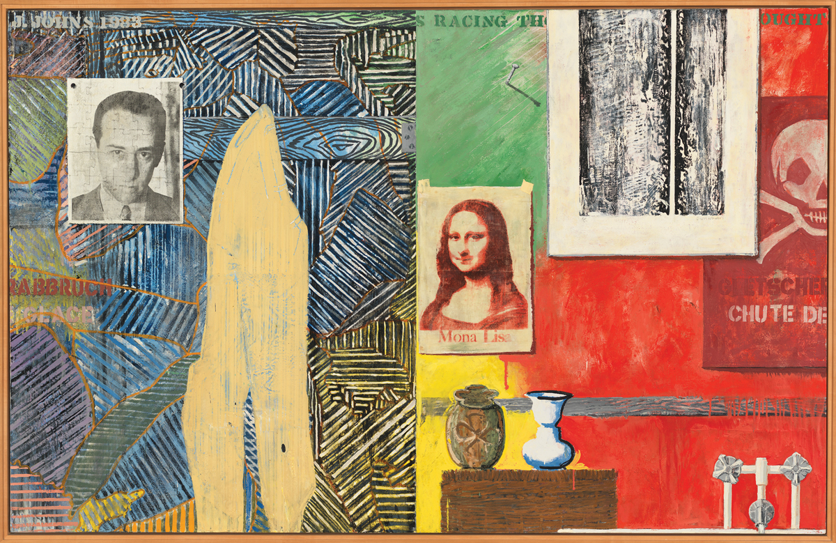 A painting of a spread objects set against a wall. From left to right, there is a portrait of a white man, a bent beige form, an image of the Mona Lisa with its colors misregistered, a vase resembling two faces via an optical allusion, an urn with a clover on it, a print of an abstract painting with a line down its middle, and three knobs. Part of the painting's background is crosshatched in a way that resembles wood. The other half is composed of three large green, red, and yellow rectangular forms.