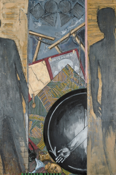 A dense painting showing the silhouettes of two people on either side. At center are paintings, easels and other objects.
