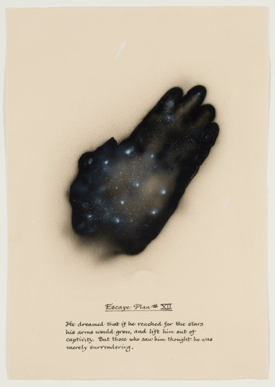 A drawing focuses on the black silhouette of a hand, in the palm of which is a hazy constellation of stars. Handwritten text appears below as a caption to the image.