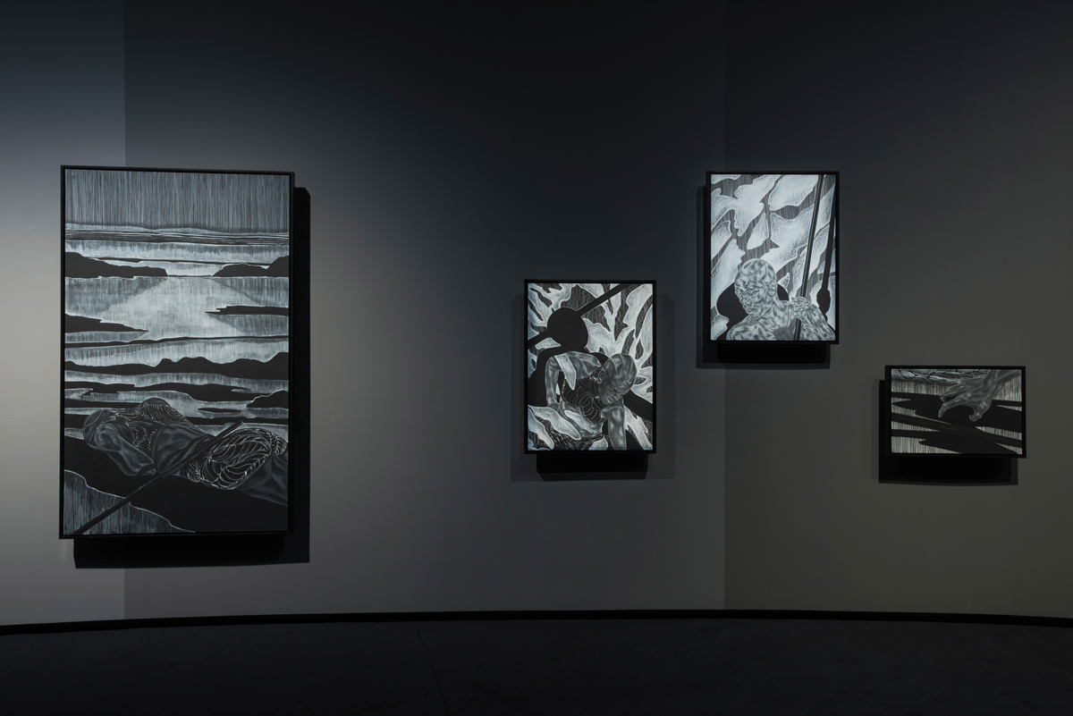 Gallery installation photo showing four works by Toyin Ojih Odutola of Black people in landscapes.