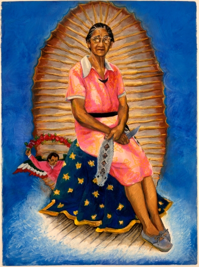A pastel drawing showing an older Chicana woman sits on a blue cloak. She wears a pink maids outfit and holds a stuffed animal snake. Behind her is a full-body halo and blue background.