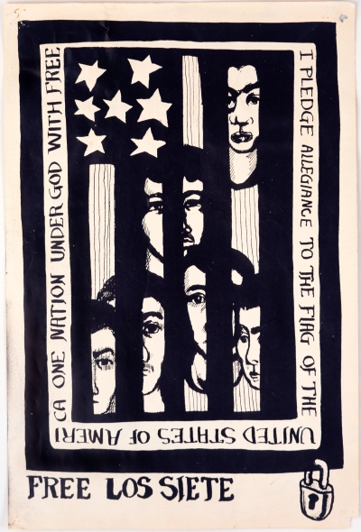 Poster for 'Free Los Siete.' Six men are drawn behind an inverted U.S. flag that looks like prison bars. Around the border text reads: 'I pledge allegiance to the flag of the United States of America one nation under God with free'.