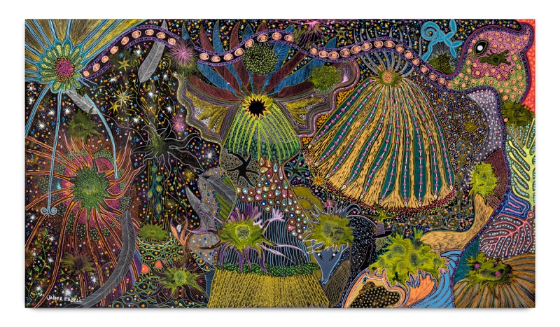 A colorful dense landscape showing an Indigenous cosmology.