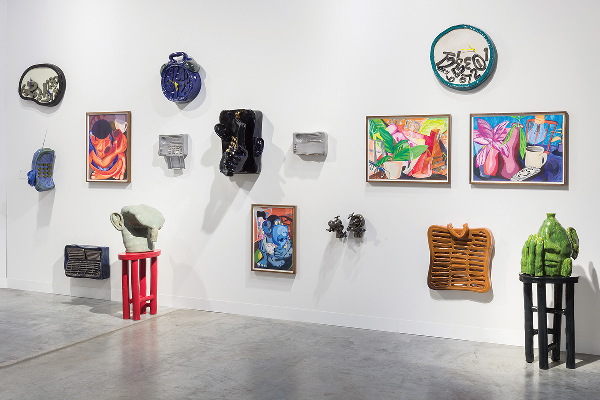 Works by De Othello on view at Jessica Silverman Gallery's booth at Art Basel Miami Beach, 2019.