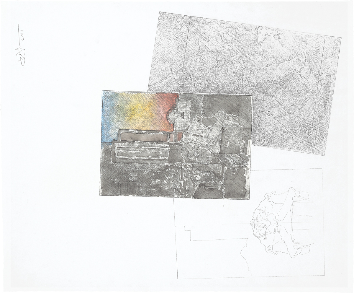 A print that is mostly white with an abstract drawing at center, askew behind it is a gray abstract drawing.