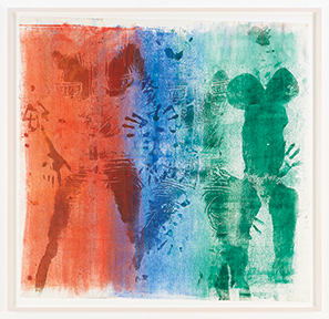 A print made by the artist placing his body in red, blue, and green pigment and then pressing himself against the paper