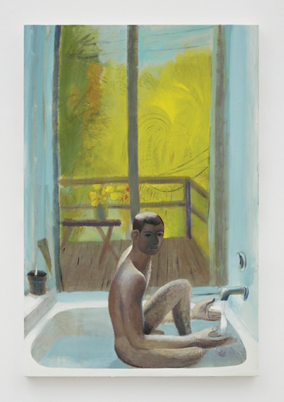 A portrait of a slender nude man in a bathroom. There's a view of a balcony with a yellow-green field in the background indicating foliage