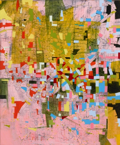 A colorful abstract vertical work that is made of various small blocks and shapes with mostly pink and ochre colors with pops of red, cyan, yellow, white, black, and olive green.