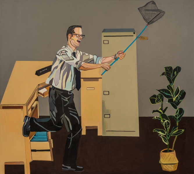 Painting showing a white man in business casual running with a butterfly net that has a tag that says 'Racism Catcher.'
