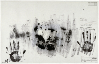 A print made by the artist dipping his face and hands in ink and then pressing himself against the paper