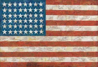 A painting of the American flag