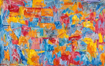 A painting of the map of the United States, with the states rendered in expressive strokes of blue, yellow, and red, and their names written on with stencils