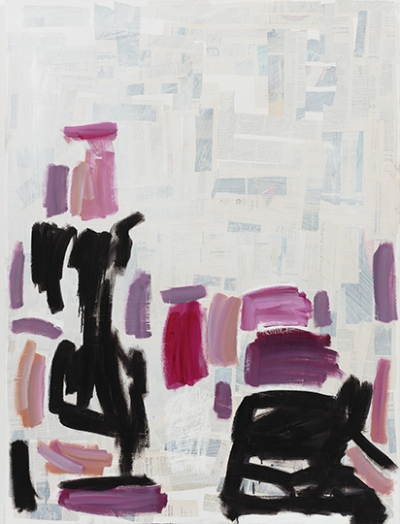An abstract painting with rectangles of pink, purple, and black over a pale background that includes newspaper clippings covered with paint