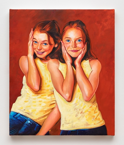 A painting of twin girls with red hair, wearing identical yellow halter tops and blue jeans