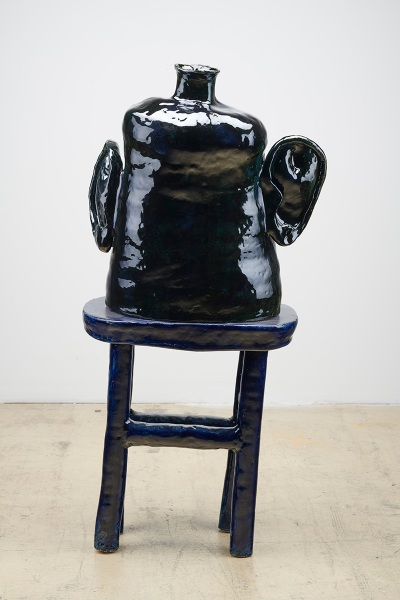 Woody De Othello: Self Talk, 2020, ceramic and glaze, 45 by 151/2 by 18 inches.