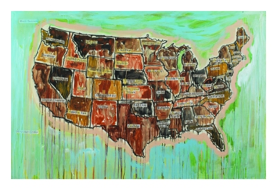 A painting of a map of the United States, with the names of states replaced by names of colors