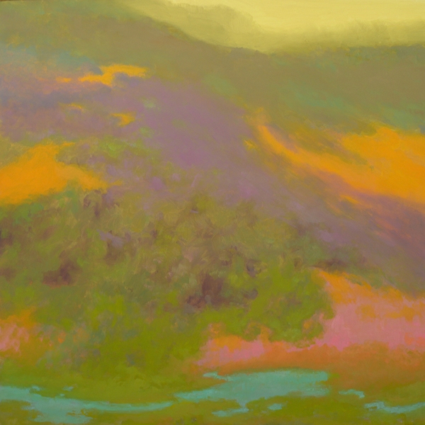 A swirling colorful landscape abstraction by Richard Mayhew. The colors are green, light blue, pink, orange, lilac, and pale yellow
