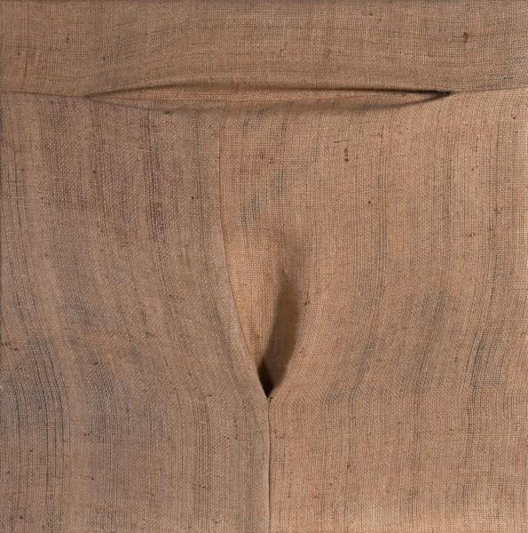 An abstract artwork of sewn brown hemp cloth.