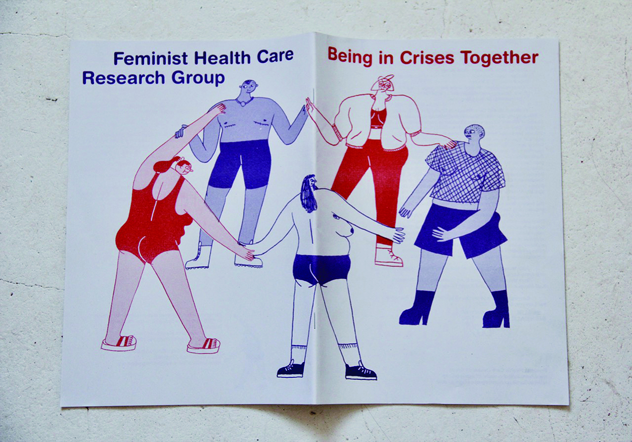 """A zine that says """"feminist health care research group: being in crisis together"""" and shows five cartoony figures standing in a circle. Everything is red or royal blue."""