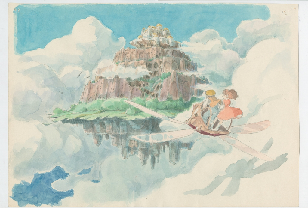 Watercolor of a floating castle and two young people on an fantastical air craft.