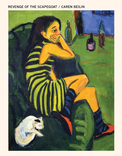 A book cover that says the title and author at the top, then has a painting of a person in a striped dress on a couch with a cat. A couple of empty bottles are at their feet, and they look bummed.
