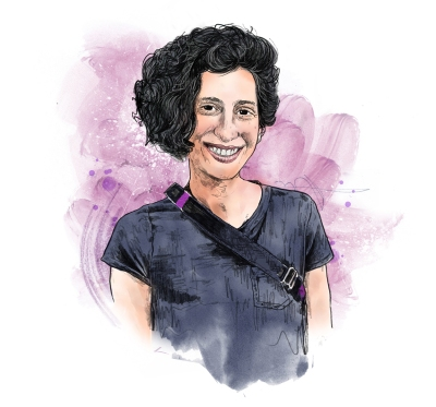An illustration of a person with short curly hair, a v neck top, and a messenger bag. The portrait is drawn with fine, detailed black lines but then filled in with loose, expressive watercolor washes.