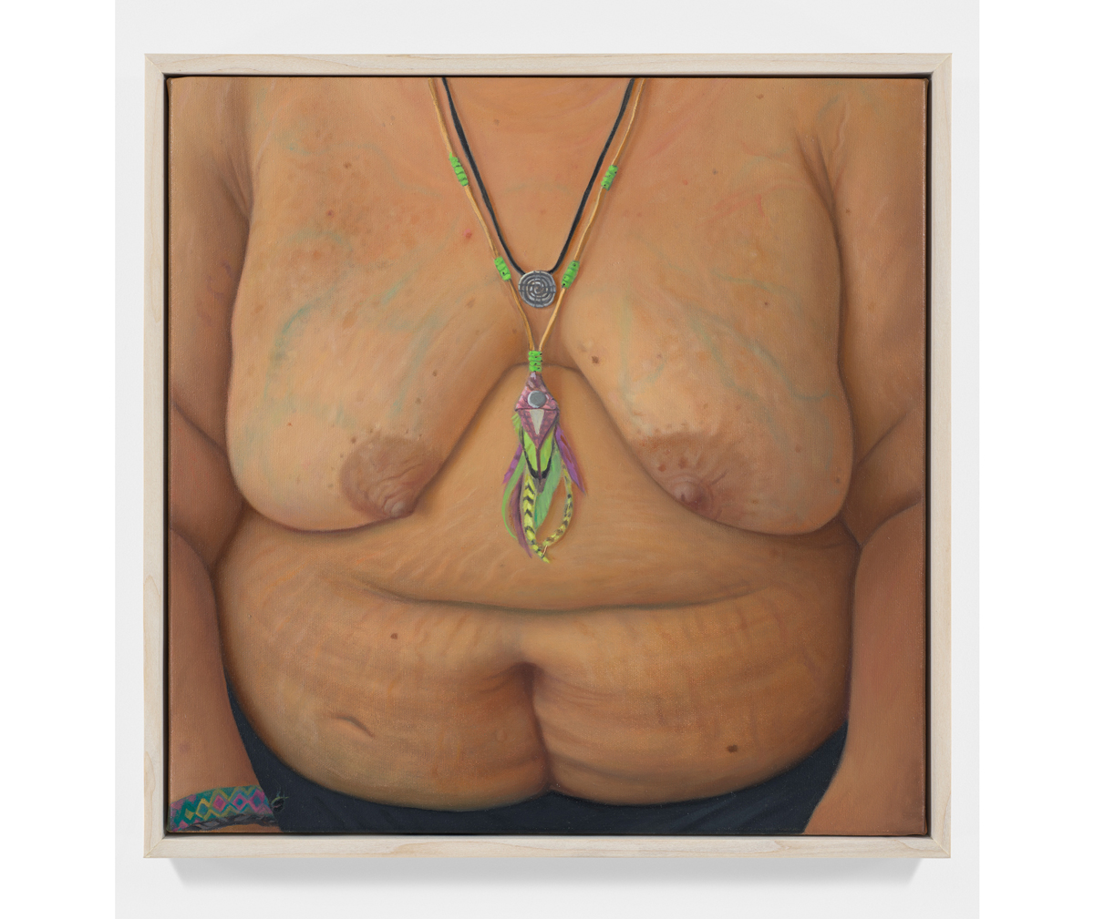 A painting of a women's nude torso. A necklace hangs between her breasts.