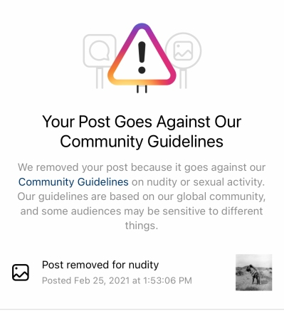 Screenshot of Instagram removal notice: 'Your post goest against our community guidelines'