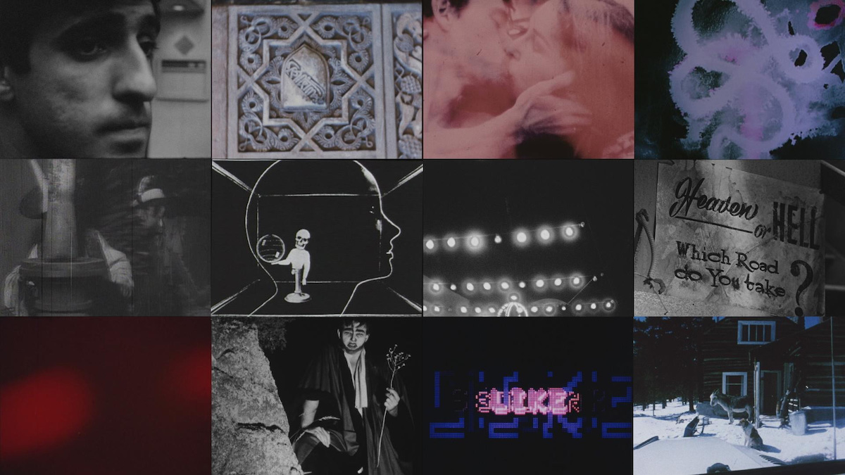 A grid of old-looking images, including stills from abstract experimental films.