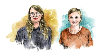 A double portrait of two white women. One on the left has long blonde hair and red lipstick, and the one on the right has short blonde hair and an orange top. The portrait is drawn with fine, detailed black lines but then filled in with loose, expressive watercolor washes.